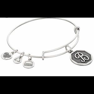 Alex And Ani Metallic Initial B Charm Bangle